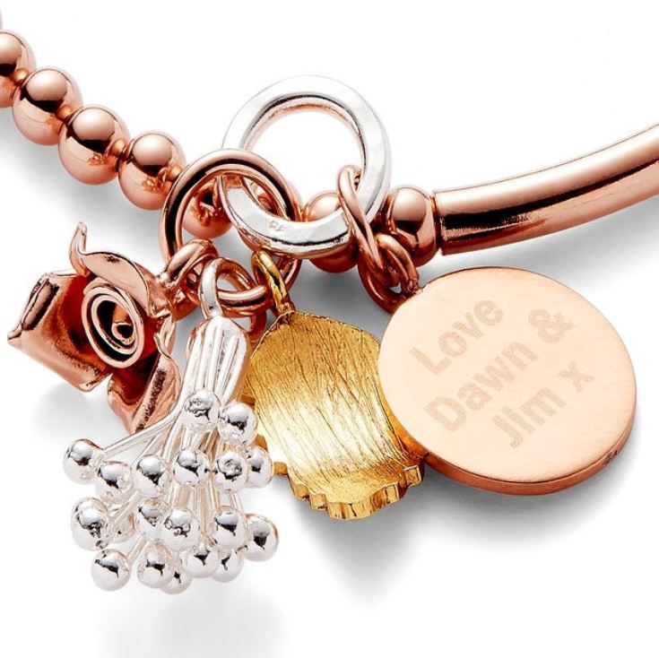 Engraved Bouquet Rose Gold Bracelet product image