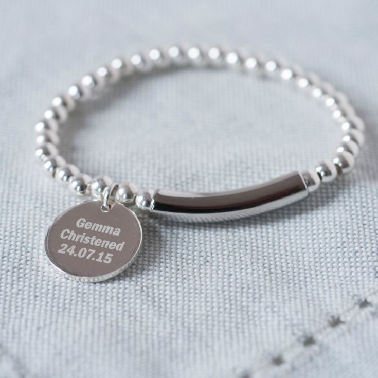 Personalised Modern Sterling Silver Christening Bracelet product image