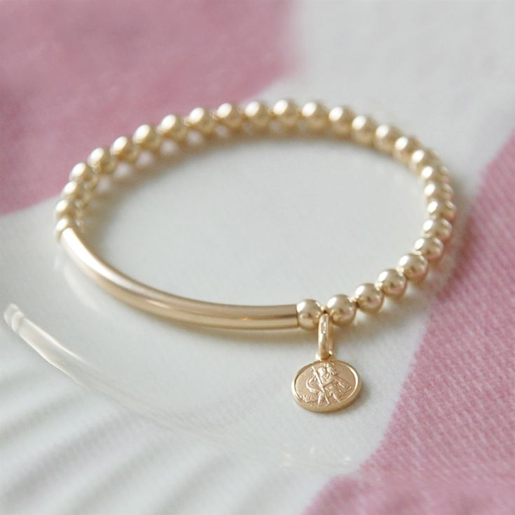 Gold St Christopher Baby Bracelet In Personalised Box product image
