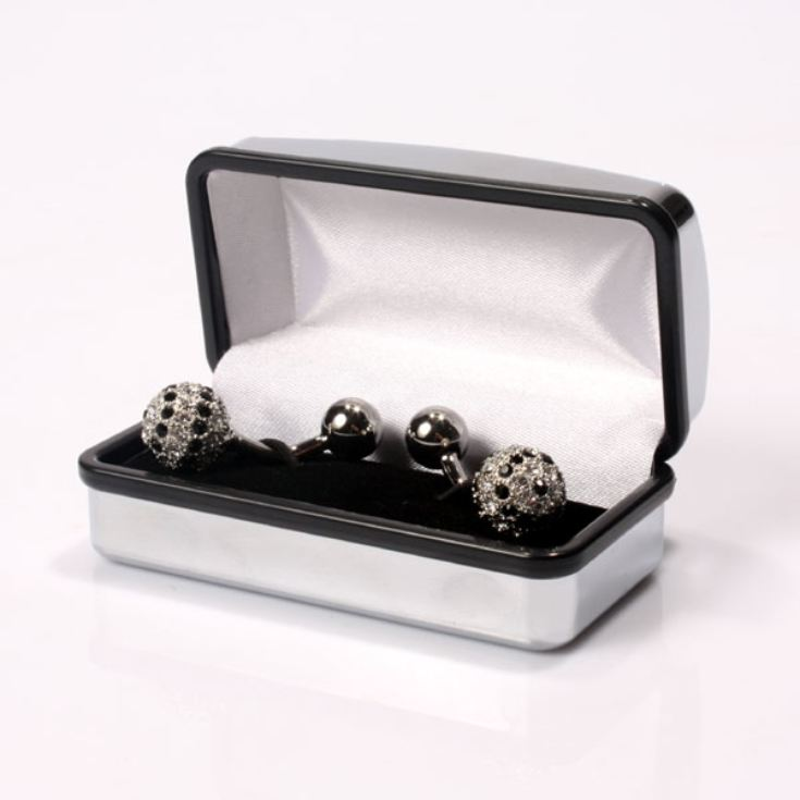 Luxury Orb Jet Cufflinks in Personalised Box product image