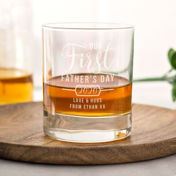Personalised Our First Father's Day Whisky Tumbler product image