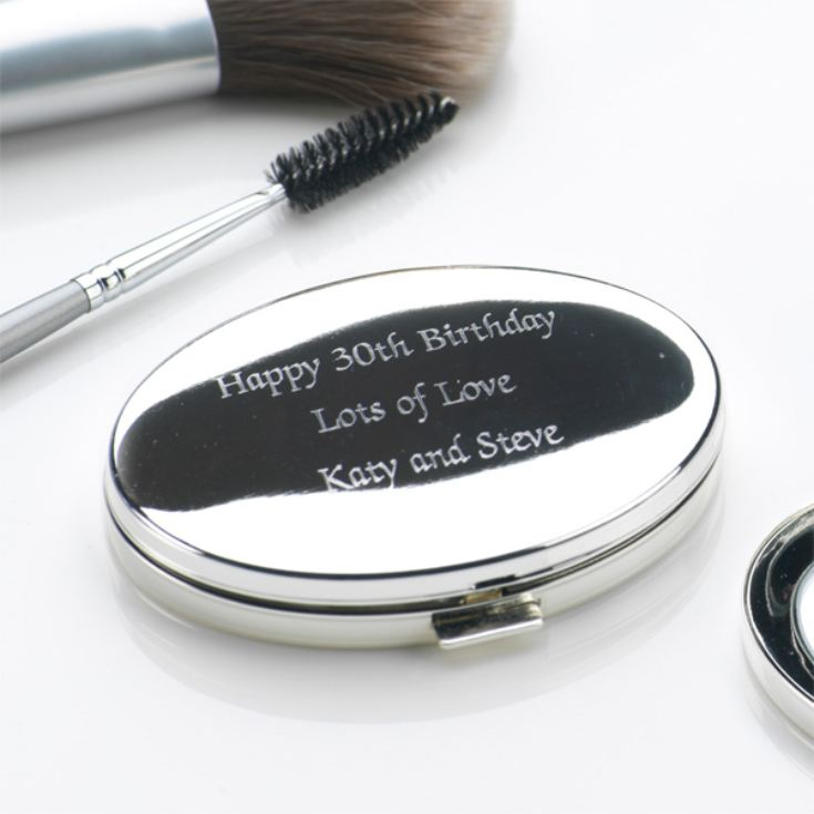 Engraved Oval Compact Mirror product image