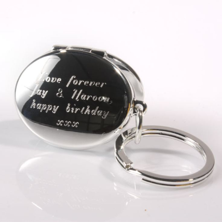 Engraved Silver Oval Photo Locket Keyring product image