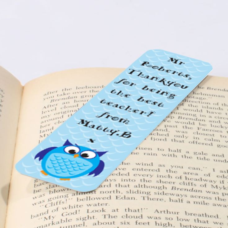 Personalised Blue Owl Bookmark product image