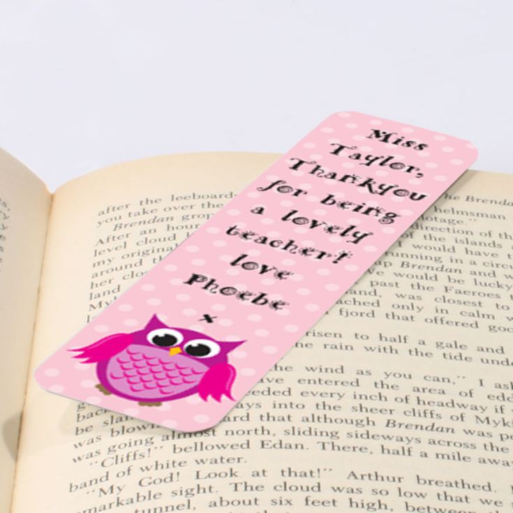 Personalised Pink Owl Bookmark product image