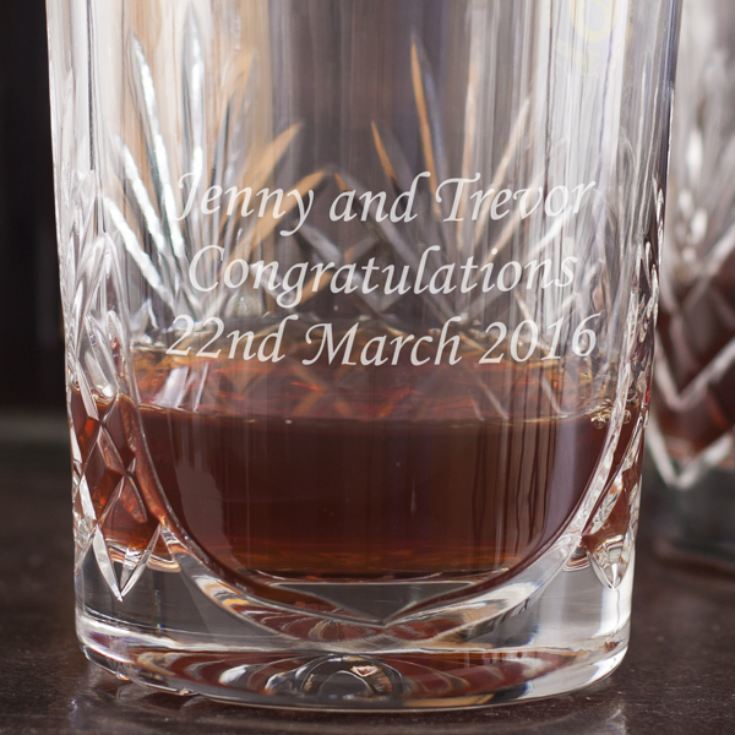 Pair of Engraved Cut Crystal Whisky Tumblers product image