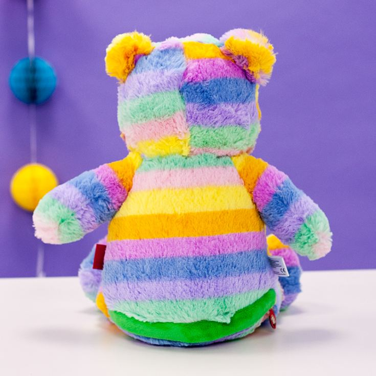 Personalised Embroidered Cubbies Pastel Rainbow Bear Soft Toy product image
