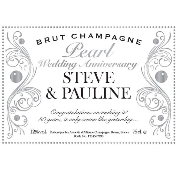 Personalised Pearl Anniversary Champagne product image