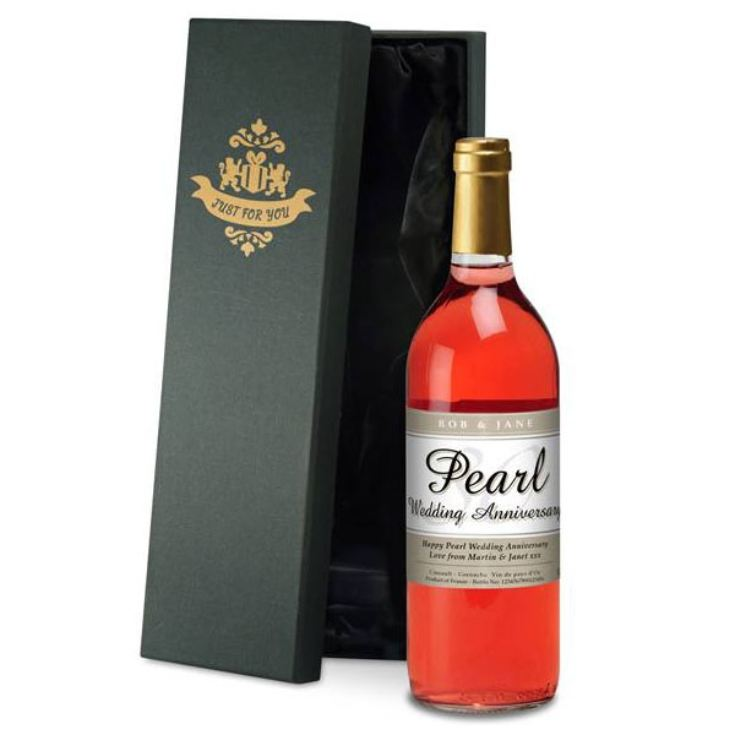 Personalised Pearl Wedding Anniversary Rose Wine product image