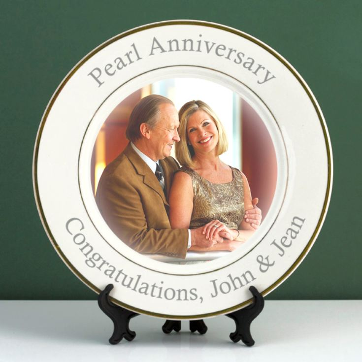 Personalised Pearl Wedding Anniversary Photo Plate product image