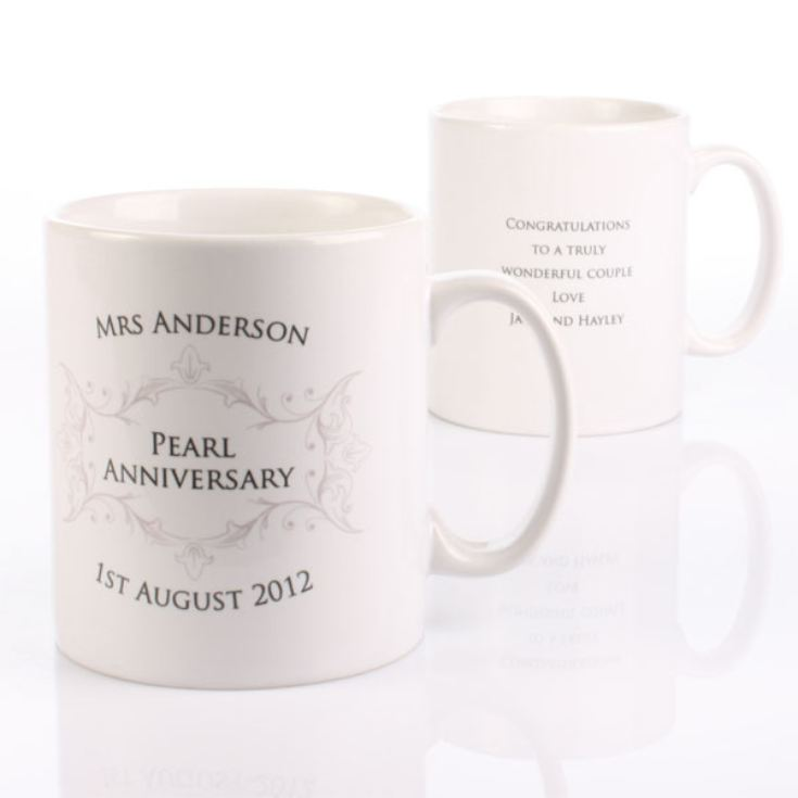Pair of Personalised Pearl Anniversary Mugs product image
