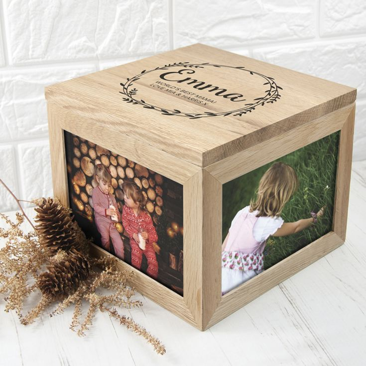 Personalised Wreath Mother's Day Large Oak Photo Cube product image