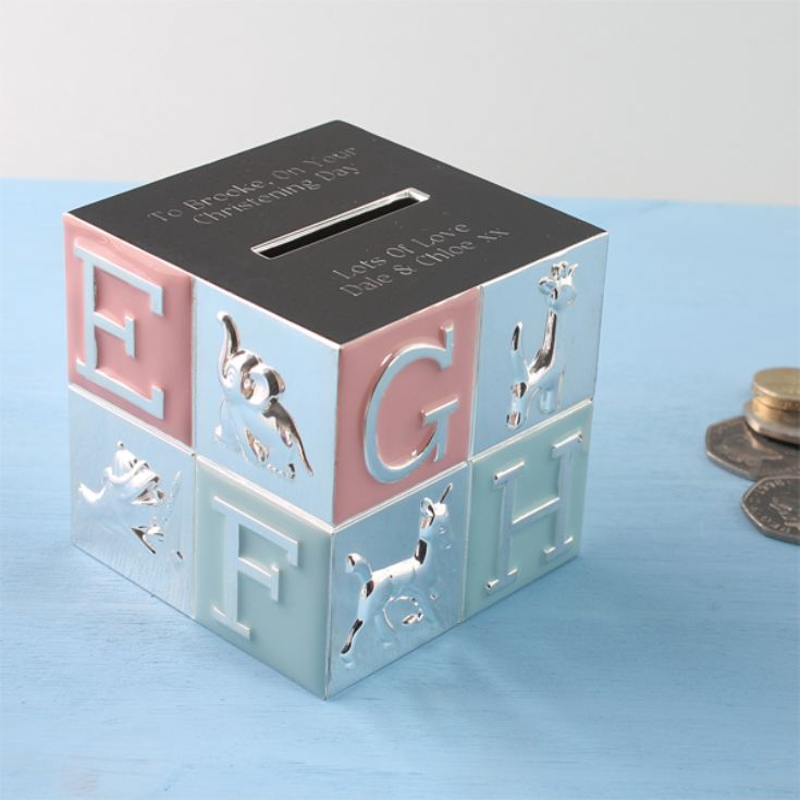 Engraved Pink and Blue Alphabet Money Box product image