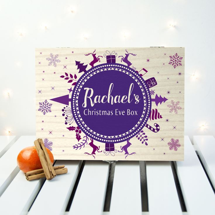 Personalised Christmas Eve Box With Snowflake Wreath product image
