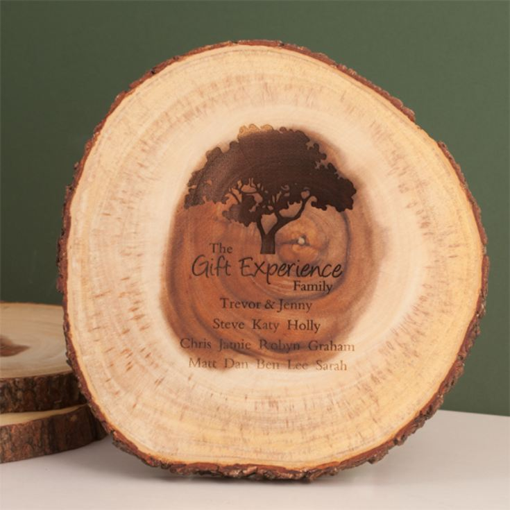 Personalised Family Tree Rustic Tree Slice product image