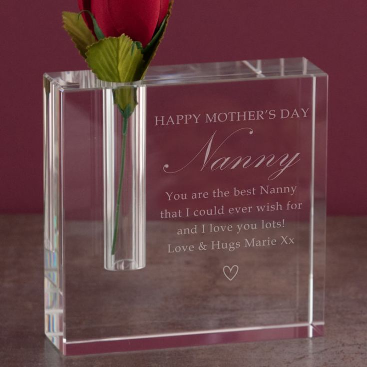 Personalised Mother's Day Optical Crystal Rectangle Bud Vase product image