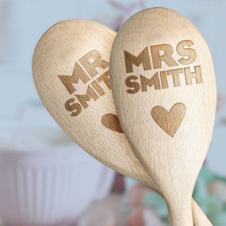 Pair of Personalised Mr & Mrs Wooden Spoons product image