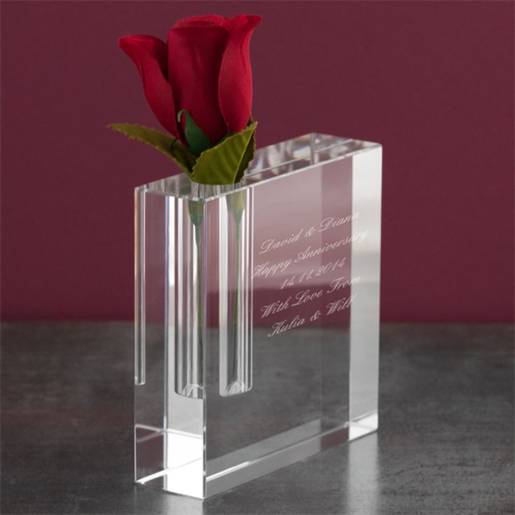 Personalised Optical Crystal Rectangle Bud Vase product image