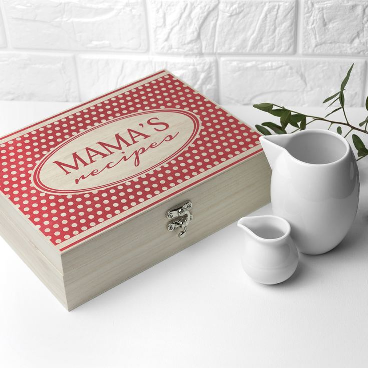 Personalised Retro Polka Dot Recipe Box product image