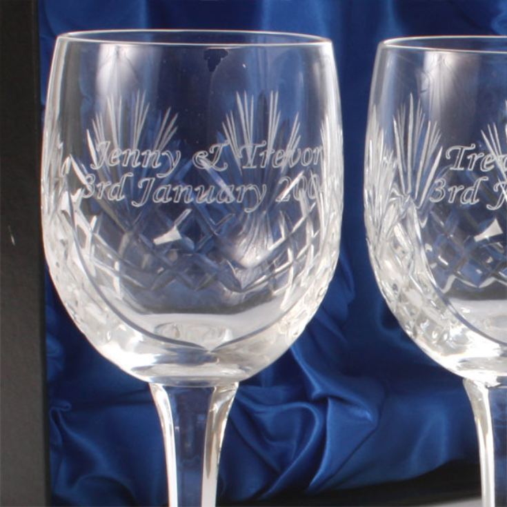 Engraved Cut Crystal Anniversary Wine Glasses product image