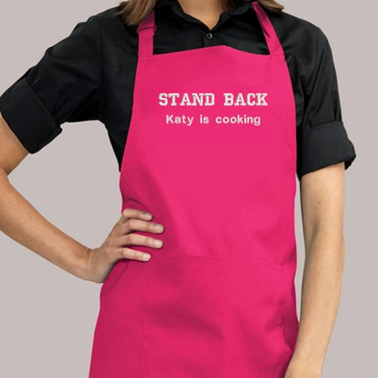 Personalised Embroidered Hot Pink Adult Bib Pocket Apron product image
