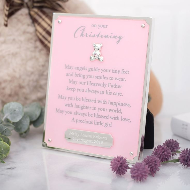 Personalised On Your Christening Engraved Plaque - Pink product image
