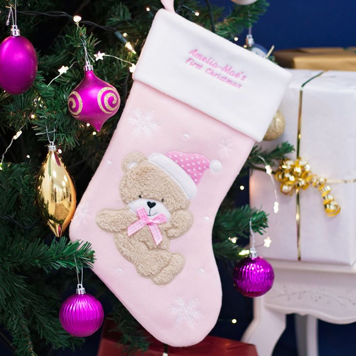Personalised Luxury My First Christmas Stocking - Pink product image