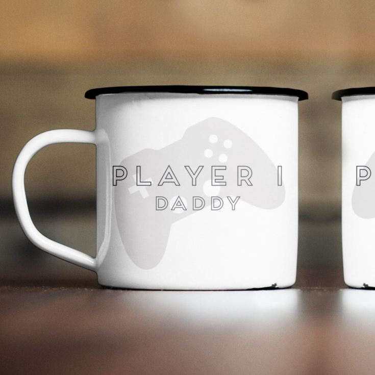Personalised Player 1 & 2 Enamel Mug Set product image