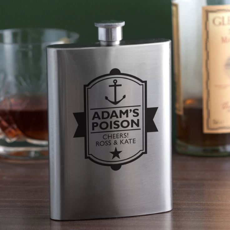 Personalised Poison Anchor Design Hip Flask product image