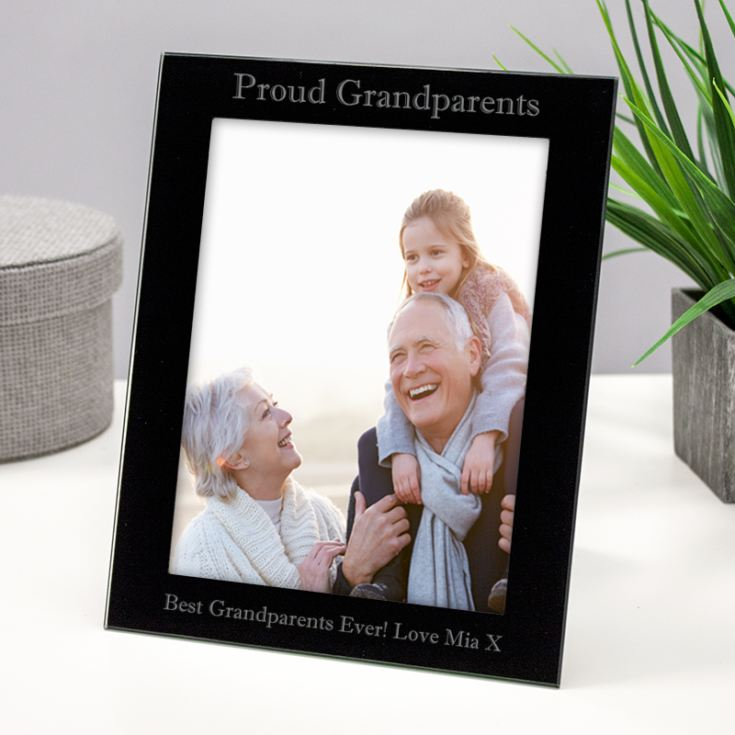 Personalised Proud Grandparents Black Glass Photo Frame product image