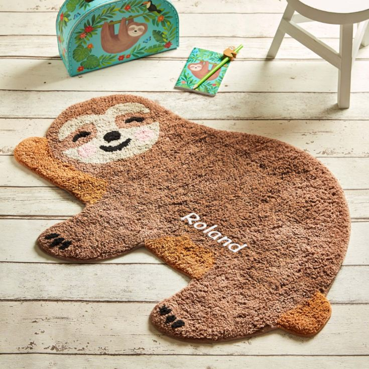 Personalised Embroidered Happy Sloth Chill Zone Rug product image