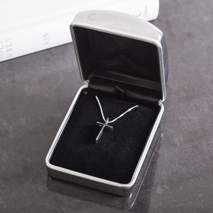 Solid Silver Classic Cross In Personalised Box product image