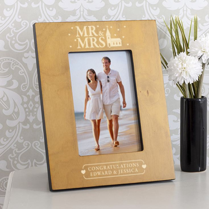 Personalised Mr & Mrs Church Design Wooden Photo Frame product image