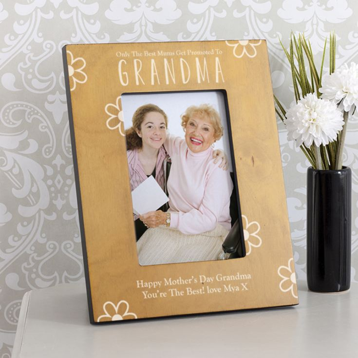 Personalised Best Mums Promoted To Grandma Wooden Photo Frame The