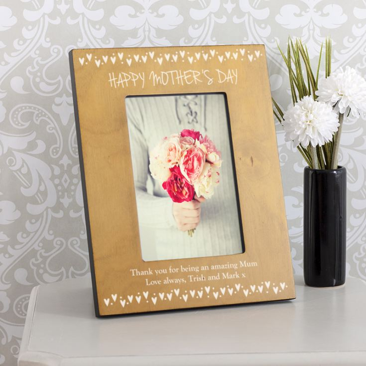 Personalised Happy Mother's Day Hearts Wooden Photo Frame product image