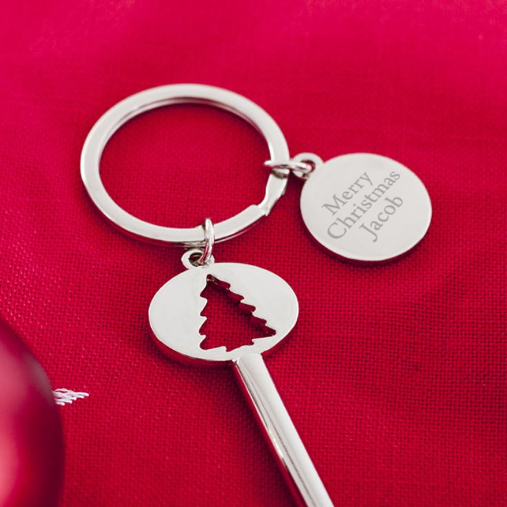 Personalised Shiny Christmas Tree Santa Key product image