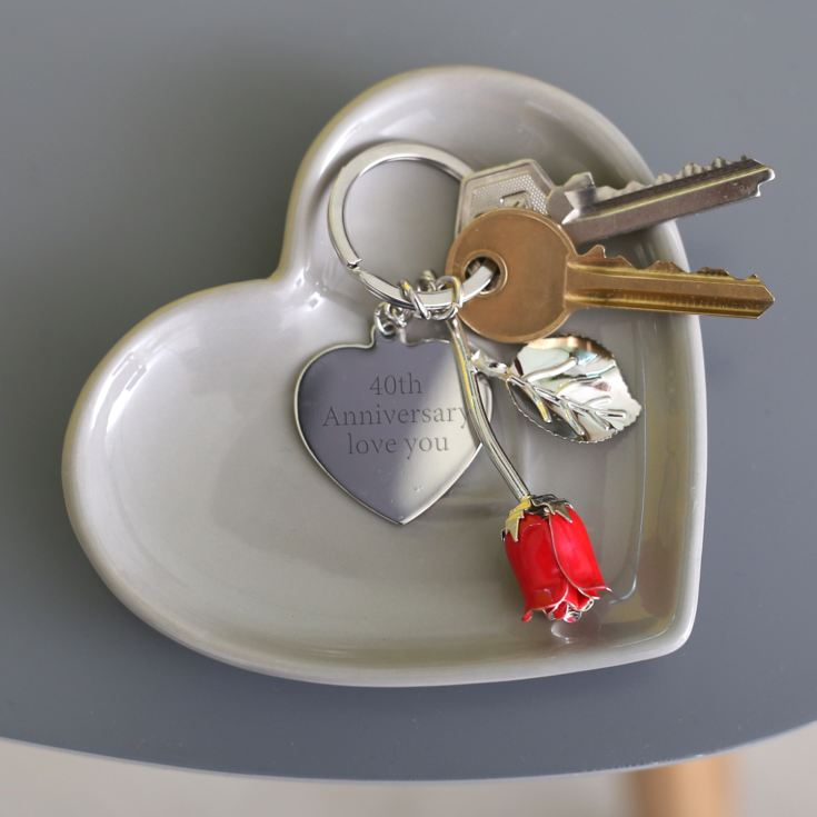 Personalised Red Rose Heart Keyring product image