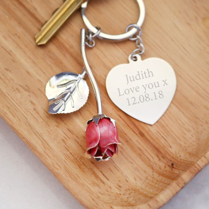 Personalised Pink Rose Keyring product image
