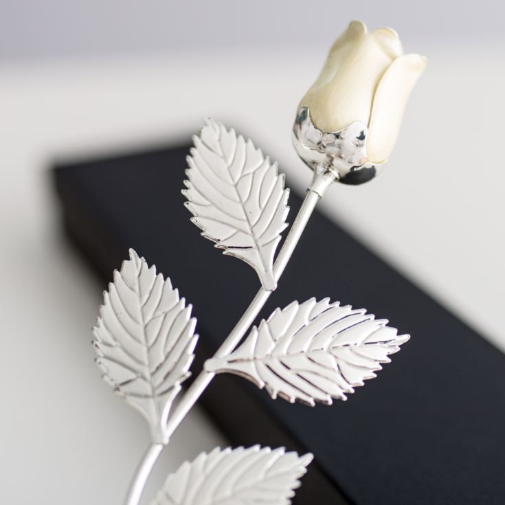 Personalised Silver Plated Rose With Pearl Bud product image
