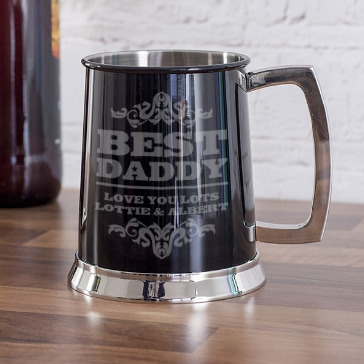 Personalised Best Daddy Black Tankard product image