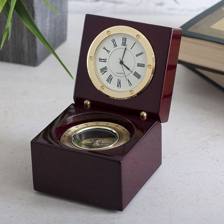 Clock And Compass In Personalised Luxury Wooden Box product image