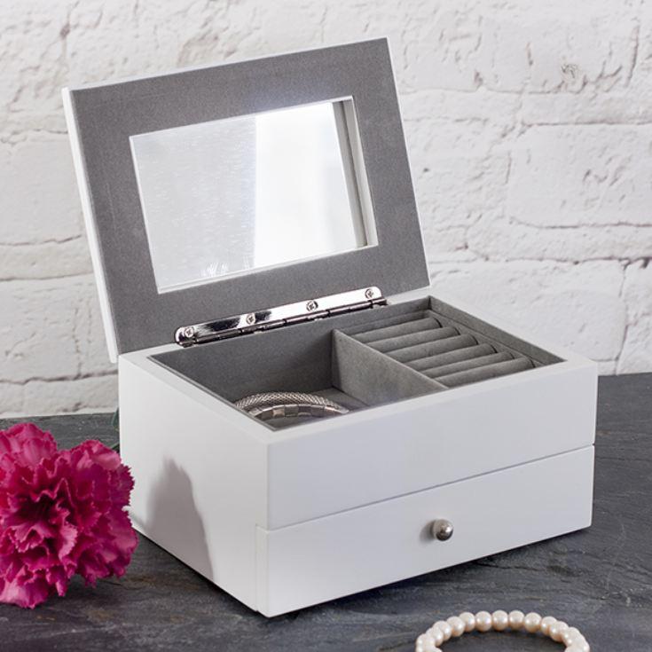 Personalised White Cambridge Jewellery Box