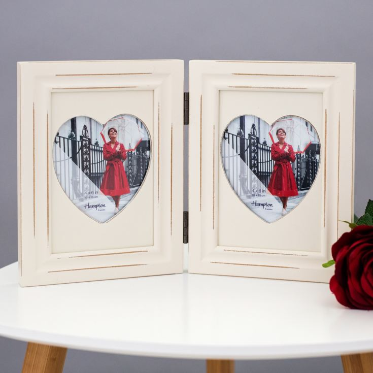 Wooden Double Hearts Photo Frame product image