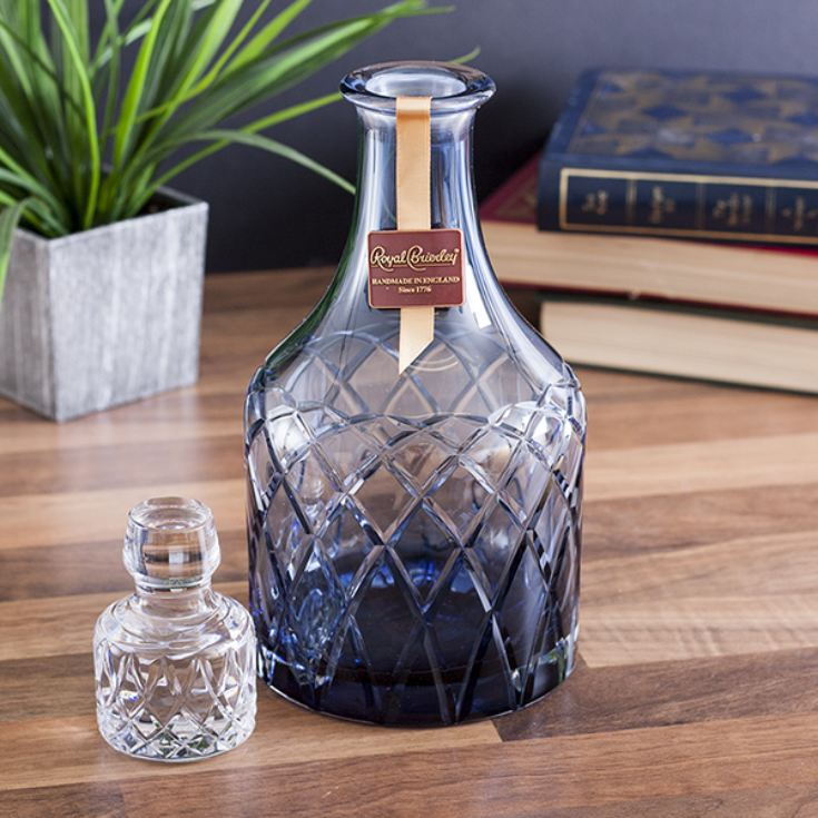 Royal Brierley Luxury Cut Crystal Harris Ink Blue Spirit Decanter product image
