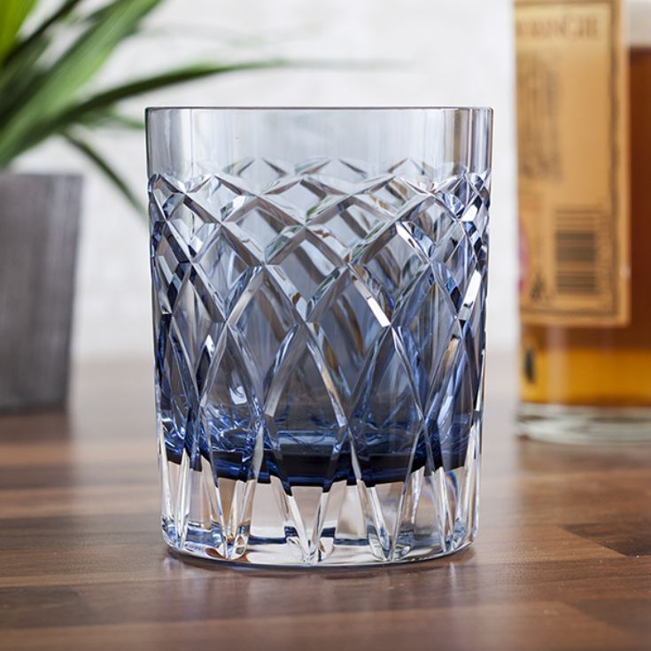 Royal Brierley Cut Crystal Harris Ink Blue Whisky Tumbler product image
