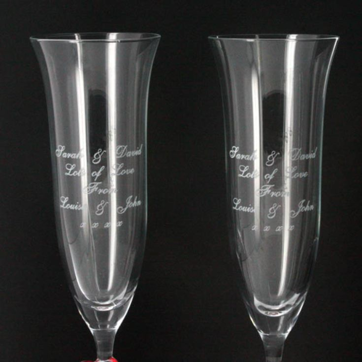 Personalised Pair of Red Heart Crystal Flutes product image