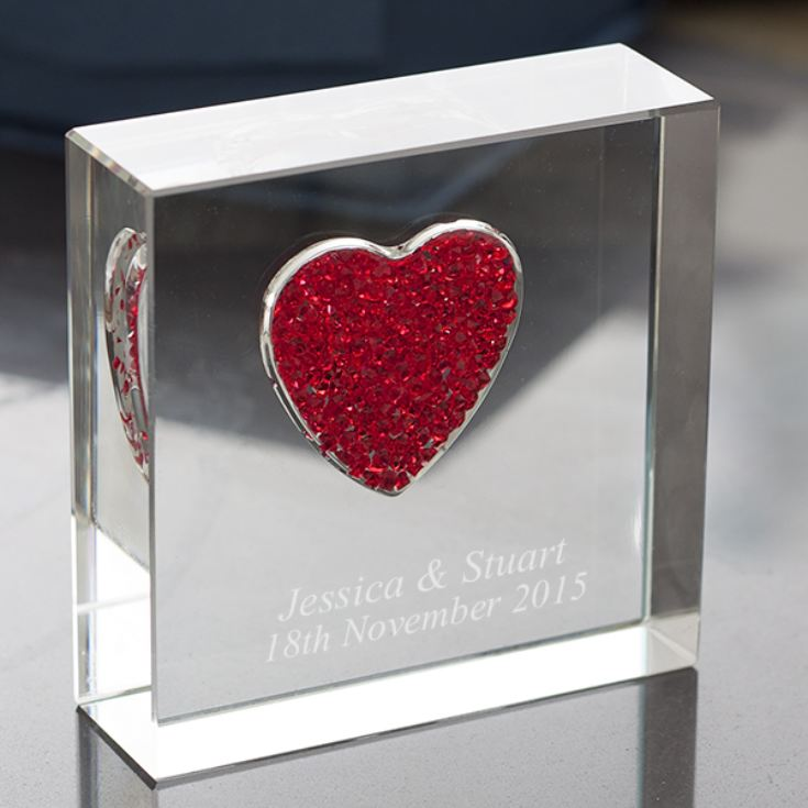 Personalised Glass Keepsake With Red Crystal Heart product image
