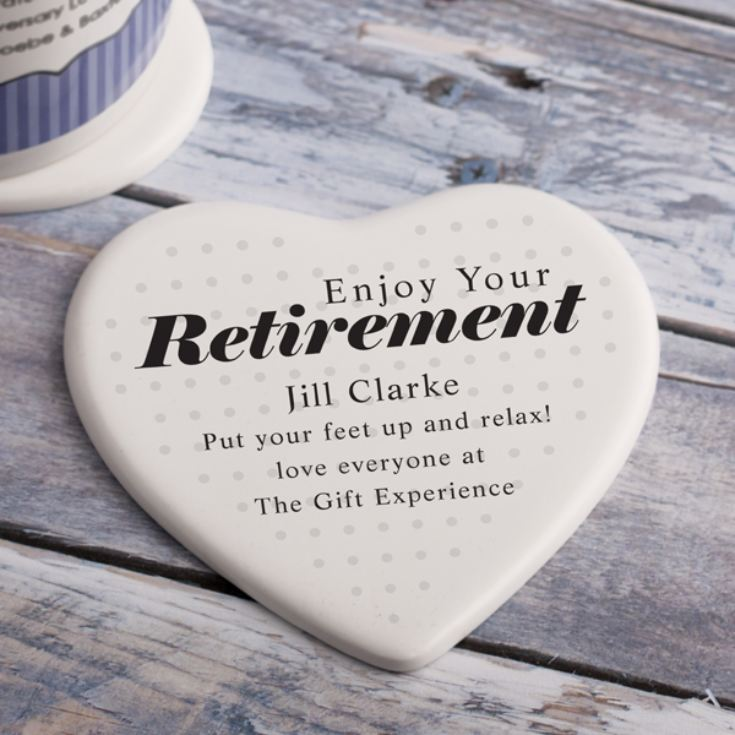 Personalised Retirement Heart Shaped Ceramic Coaster product image