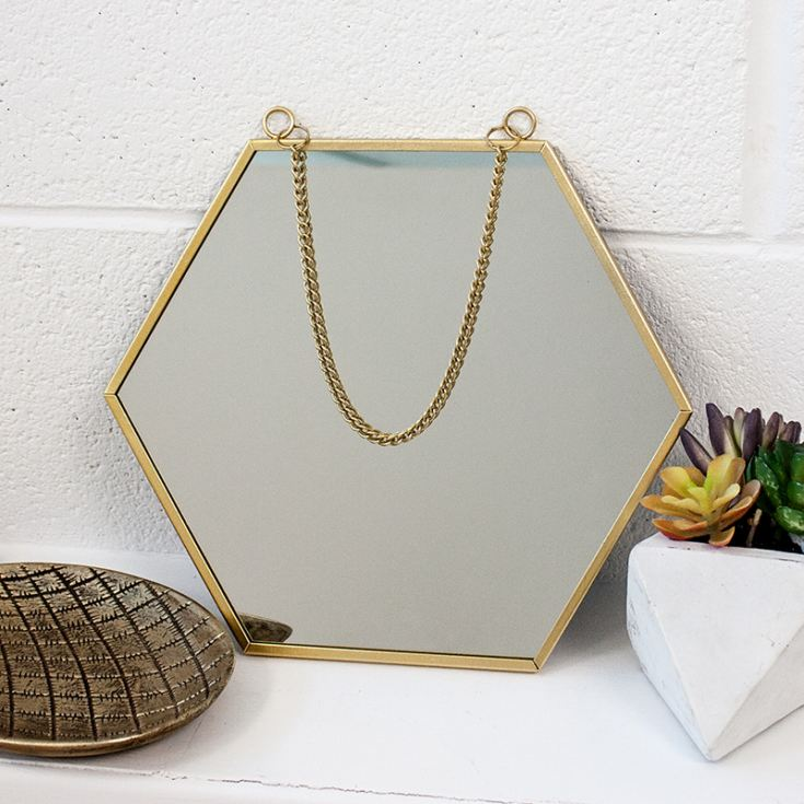 Personalised Touch of Gold Hexagon Mirror product image