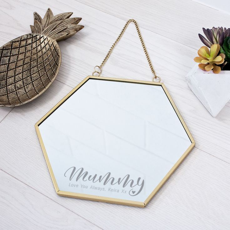 Personalised Touch of Gold Mummy Hexagon Mirror product image